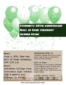 Steinmetz Hall of Fame Event Flyer - 2014
