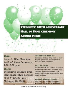 Steinmetz Hall of Fame Event Flyer - 2014